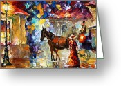 Old Street Greeting Cards - Momentary stop Greeting Card by Leonid Afremov