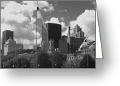 Ann Powell Greeting Cards - Montreal Skyline BW Greeting Card by Ann Powell