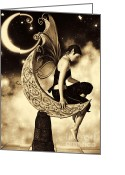 Gnome Greeting Cards - Moon Fairy Sepia Greeting Card by Alexander Butler