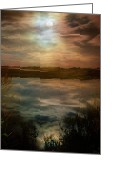 Spooky Moon Greeting Cards - Moon over marsh Greeting Card by Gary Heller