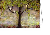 Moon Greeting Cards - Moon River Tree Original Art Greeting Card by Blenda Tyvoll