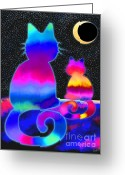 Nick Gustafson Greeting Cards - Moon Star Cats Greeting Card by Nick Gustafson