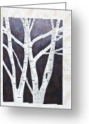 Textile Art Tapestries - Textiles Greeting Cards - Moonlight Birch Trees Greeting Card by Patty Caldwell