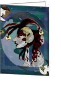 Mascots Digital Art Greeting Cards - Moonlight Jester Greeting Card by Anne Lacy and Marian Hebert