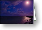 Caribbean Sea Greeting Cards - Moonlight Sonata Greeting Card by Chad Dutson