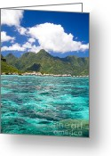 French Polynesia Greeting Cards - Moorea Lagoon No 2 Greeting Card by David Smith