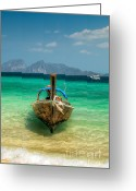 Moored Greeting Cards - Moored Longboat Greeting Card by Adrian Evans