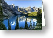 Landscapes Photo Greeting Cards - Moraine Lake Greeting Card by Oscar Gutierrez
