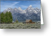 Grand Teton Panoramic Greeting Cards - Morning on  Mormon Row - Grand Teton Greeting Card by Sandra Bronstein