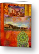Formerly Greeting Cards - Morocco Heritage POster Greeting Card by Catf