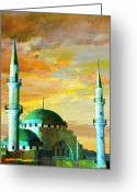 Rabat Painting Greeting Cards - Mosque Jordan Greeting Card by Catf