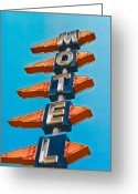 Old Sign Greeting Cards - Motel Large Greeting Card by Matthew Bamberg