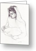 Feeding Drawings Greeting Cards - Mother feeding Baby Greeting Card by Russell Kightley