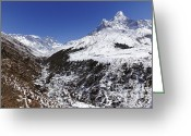 Ama Greeting Cards - Mount Everest with Ama Dablam mountain on the right in the Everest Region of Nepal Greeting Card by Robert Preston