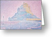 Pointillist Painting Greeting Cards - Mount Saint Michel Fog and Sun Greeting Card by Paul Signac