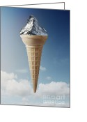 Ice Cream Cornet Greeting Cards - Mountain Ice-Cream Greeting Card by Kitty Bitty