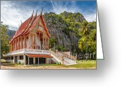 Thailand Digital Art Greeting Cards - Mountain Temple Greeting Card by Adrian Evans