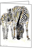 Equus Pastels Greeting Cards - Mountain Zebra - Equus zebra Greeting Card by Kurt Tessmann