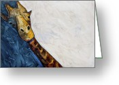 One Animal Painting Greeting Cards - Mr. Giraffe Greeting Card by Kerrie  Hubbard