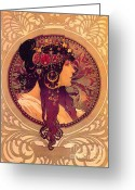 Gold Earrings Photo Greeting Cards - Mucha - Donna Orechini Greeting Card by Absinthe Art  By Michelle Scott