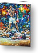 Leonid Afremov Greeting Cards - Muhammad Ali Greeting Card by Leonid Afremov