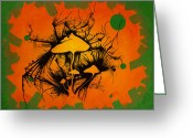 Caron Greeting Cards - Mushies and the Dragonfly Greeting Card by Mike Caron