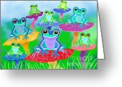 Nick Gustafson Greeting Cards - Mushroom Valley Frogs Greeting Card by Nick Gustafson