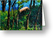 Great Painting Greeting Cards - Mushrooming At Treaty Rock Greeting Card by Charlie Spear