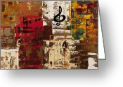 Guitar Greeting Cards - Music World Tour Greeting Card by Carmen Guedez