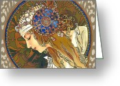 Elena Yakubovich Painting Greeting Cards - My study of an Alphonse Mucha - Byzantine Head. The Blonde. Diagonal frame. Greeting Card by Elena Yakubovich