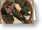 Elena Yakubovich Painting Greeting Cards - My study of an Alphonse Mucha - Byzantine Head. The Brunette. Diagonal frame. Greeting Card by Elena Yakubovich