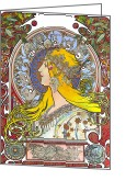 Elena Yakubovich Painting Greeting Cards - My study of an Alphonse Mucha - Zodiac - Elena Yakubovich Greeting Card by Elena Yakubovich
