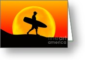 Surf Silhouette Digital Art Greeting Cards - My Way Greeting Card by Andreas Thust