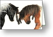 Native Portraits Greeting Cards - Nagi and Hopa Mustang Series 37 Greeting Card by AmyLyn Bihrle