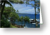 Bay Islands Greeting Cards - Nahiku Kaelua Honolulunui Bay Maui Hawaii Greeting Card by Sharon Mau