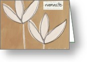 Namaste Greeting Cards - Namaste White Flowers Greeting Card by Linda Woods