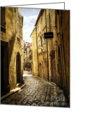 Cobblestone Greeting Cards - Narrow street in Perigueux Greeting Card by Elena Elisseeva