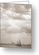 Stormy Skies Greeting Cards - Nautical - Sailing in New York Harbor Greeting Card by Gary Heller