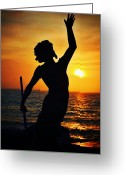 Greek Sculpture Digital Art Greeting Cards - Neptune at Dusk Greeting Card by Natasha Marco