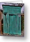 Vintage Outhouse Greeting Cards - Nessy the Outhouse Greeting Card by Lee Dos Santos