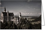 King Ludwig Greeting Cards - Neuschwanstein castle Greeting Card by Joanna Madloch