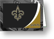 Touchdown Greeting Cards - New Orleans Saints Greeting Card by Joe Hamilton