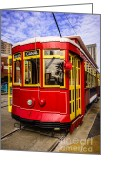 Trolley Greeting Cards - New Orleans Streetcar  Greeting Card by Paul Velgos