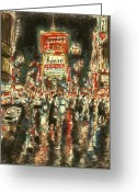 Expressive Drawings Greeting Cards - New York Broadway Greeting Card by Peter Art Prints Posters Gallery