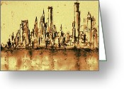Aquarel Greeting Cards - New York City 79 - Watercolor Greeting Card by Peter Art Prints Posters Gallery