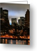 Thin Greeting Cards - New York City Blue Greeting Card by JC Findley