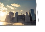 Manhattan Sunset Greeting Cards - New York City Skyline - Sunset Greeting Card by Vivienne Gucwa