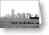 1990s Greeting Cards - New York Harbor 1990s Greeting Card by John Rizzuto