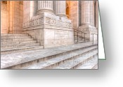 Clarence Holmes Greeting Cards - New York Public Library Columns and Stairs III Greeting Card by Clarence Holmes