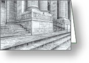 Clarence Holmes Greeting Cards - New York Public Library Columns and Stairs IV Greeting Card by Clarence Holmes